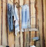Handduk, randig bomull